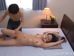 Juicy Japanese babe Miki is tied and fucked hard