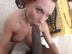Lovely redhead takes on a monster cock