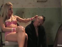 Blonde Ashley Fires Making Guy Eat Her Pussy in Bondage Femdom Video