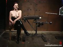 Caroline Pierce gets tomented and fucked with toys in a cellar porn video
