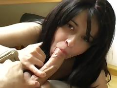 Sweet young brunette swallows sperm load by load