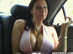 Big tittied chicks get fucked rough in FFM video porn video