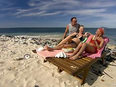 Beach, Babe, Beach, Big Tits, Bikini, Blowjob