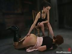 Cherry gets her sugary holes toyed by a brunette dominatrix porn video