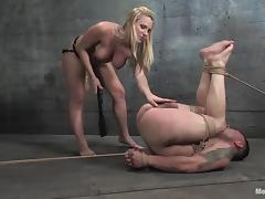 Harmony destroys Rico's butt with a strapon in BDSM scene porn video