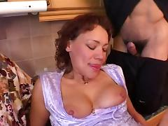Mom with saggy tits & 4 guys porn video