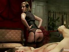 Maitresse Madeline Spanking Tied Up Dude in Bondage and Femdom Vid porn video