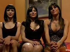 Three gorgeous brunette lesbians play BDSM games in a bedroom