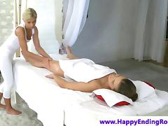 Massage model with hottest ass fingered by lesbian