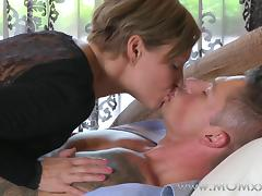 Mom xxx: Mature Brunette rides his cock