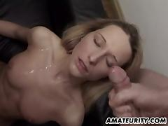 Amateur blonde gets gangbanged by 3 guys