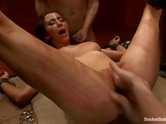 Princess Donna Dolore gets beaten and enjoys DP in terrific BDSM clip