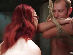 Claire Adams Redhead Vixen Playing with Guy in Bondage Pegging Femdom porn video