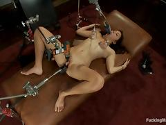 Kiki's tits are pumped, while she gets nailed by a machine