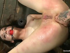Honey gets her twat twitched and geared with a bucket