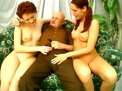 Old Bald Dude Is Insane Licking Two Young Pussies porn video