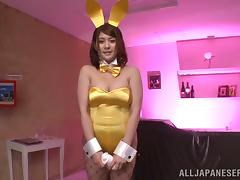 Japanese Girl in Yellow Playmate Costume Titty Fucks and Sucks in POV