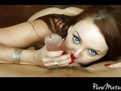 PureMature milf sucks her man's balls
