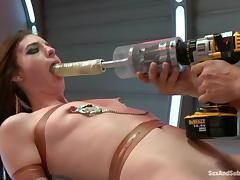 Sexy babe Riley Shy rides Mr. Pete with a gag in her mouth