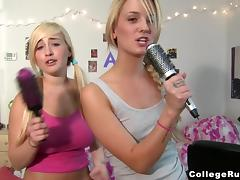 Three blonde sluts show off their tits and share some dude's schlong