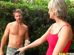 Misty Law the lustful MILF gets fucked by her gardener