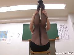 Japanese Teacher Tamaki Nakaoka Footjobs for Jizz on Pantyhose