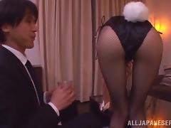Riho Hasegawa Japanese Girl in Playmate Costume Giving Blowjob