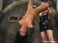 Melissa Lauren gets showered and pulled by pussy lips in hot BDSM video porn video