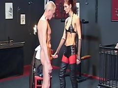 Slender babe in leather fuck with an old dick