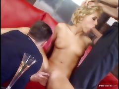 Amazing blonde girl has wild threesome sex at a party