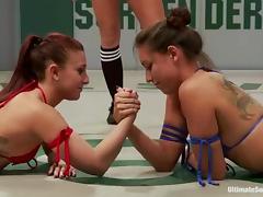 Kinky girls in bikini fight and fuck in the ring