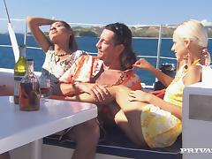 Boroka Balls and Sahara Knite get naughty with a guy on a yacht