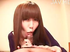 Japanese hoe sucks off POV cock porn video