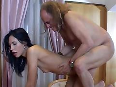 Old and Young, Banging, Blowjob, Brunette, Group, Old Man