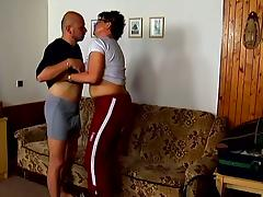 Faye the brunette granny gets rammed on a sofa
