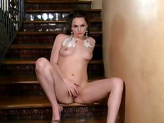 Tori Black gives a closeup of porn video