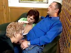 Two naughty grannies ride a dick and toy their pussies