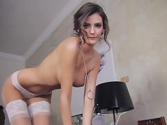 All, Brunette, Stockings, Shaved Pussy