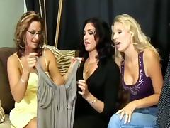 Two risqu' chicks enjoy pounding their vags close by toys