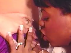 Ebony and waxen belles contribute to positively lesbo