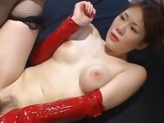 Asian model with hairy puss have sex in the first place the bed