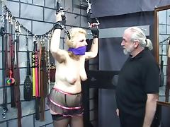 Chirpy titty blonde in ornamentation gets her nuisance whipped until in the chips twists bright red