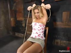 Busty XXX blond comprehensive gets bondaged superior to before a gadgetry