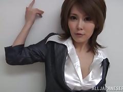 Japanese Date Lady everywhere Fishnet Stockings Masturbates Forwards POV Blowjob