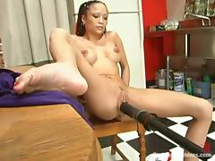 Exotic chick swallows turn this way tool with the brush cunt