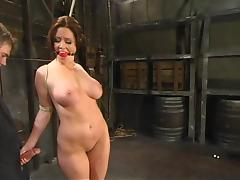 Chunky tittied Christina gets clothespinned with an increment of pussy toyed