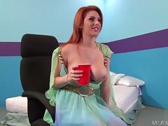 Drunk redhead babe is having fun on a pretentiously blarney