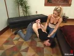 Nasty Hollie Stevens pinches a tramp and drills his ass