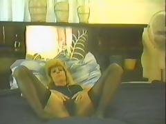Amateur chick with respect to stockings gets rammed with respect to retro motion picture porn video