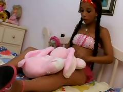 Pigtailed juvenile gets their way ass pounded and covered in cum